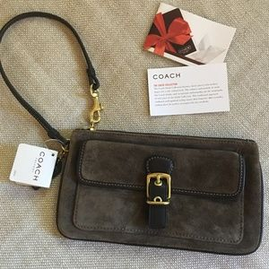 Coach Brown Suede Wristlet NWT